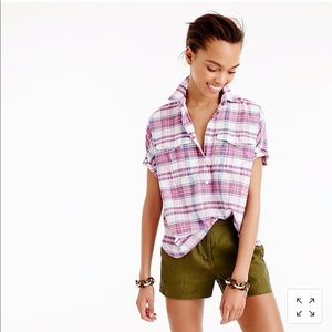 J Crew short sleeve pop over in vintage plaid 4